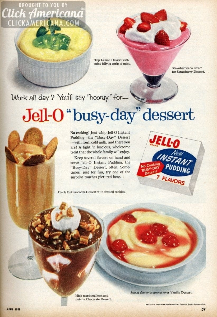 Busy Day Desserts With Jello Pudding 1959 Click Americana