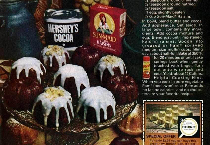 Cocoa-raisin cake-muffins - cuffins - recipe (1978)