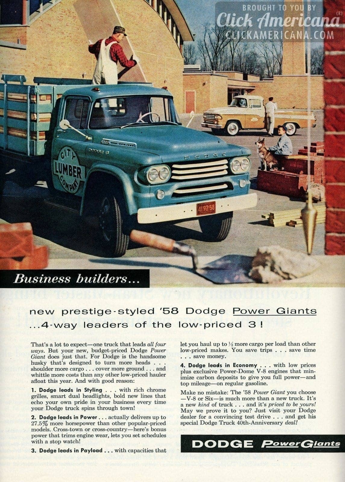 New Prestige Styled 58 Dodge Power Giants Click Americana 1961 Pickup Truck