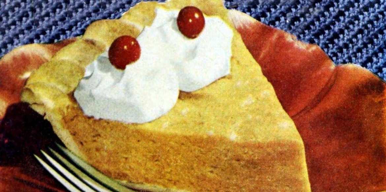Pumpkin chiffon honey pie: A light no-bake pumpkin pie sweetened with honey (1948)