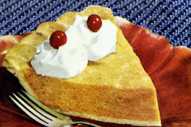 Pumpkin chiffon honey pie: A light no-bake pumpkin pie sweetened with honey (1948)