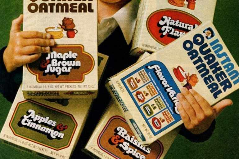 Instant Quaker Oatmeal flavors for kids (1972 & 1986)