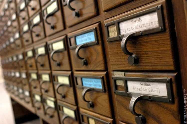Card catalogs at Tulane University Library