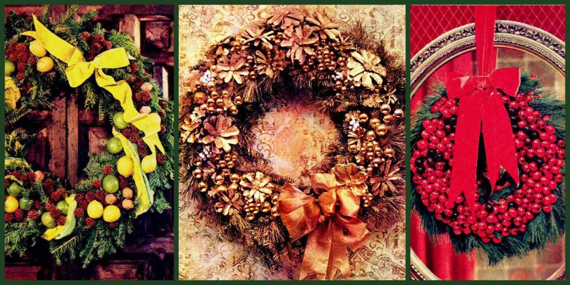 vintage-style handmade Christmas wreath craft project