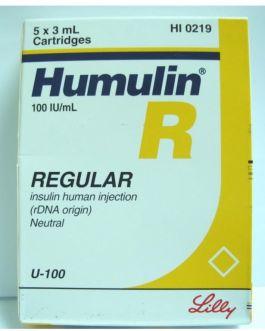 Humulin R Insulin 100IU Cartridges