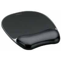 Fellowes Crystal Mouse Pad and Wrist Rest Black 9112101-0