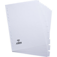 Elba Card Divider A4 10-Part 160gsm White 100204881-0