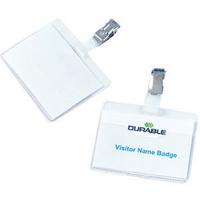 Durable Name Badge 60x90mm Clip On Landscape Pk25 8106-0