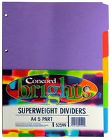 Concord Bright A4 Divider Heavy-weight 5-Part Assorted 52599/525-0