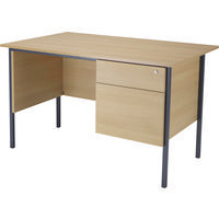 Jemini 1200mm 4 Leg Desk 2-Drawer Pedestal Oak KF838372-0