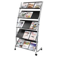 Alba 5 Shelf Single Sided Mobile Literature Display Stand 3 x A4 DD5GM-0
