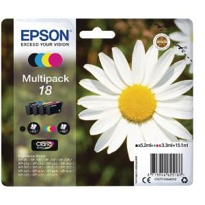 Epson 18 Black Cyan Magenta Yellow Ink Cartridge Pk4 C13T18064012-0