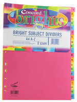 Concord Bright Subject Dividers A4 A-Z Assorted 52499 Pk10