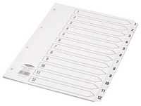 Concord Classic Index 1-12 A4 White Board with Clear Mylar Tabs 01201 CS12