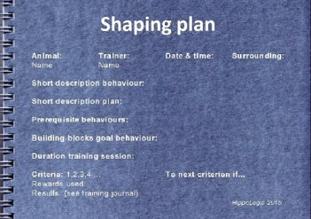Shaping plan contains all steps you wna tto click for in order to train your goal behaviour