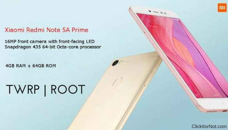 Install TWRP Recovery and Root Xiaomi Redmi Note 5A Prime/Redmi Y1 In this article, we will guide you how to installTWRP Recovery and Root Xiaomi Redmi Note 5A Prime