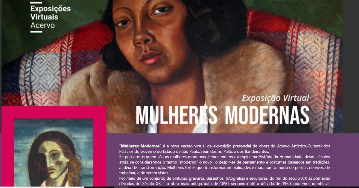 """Acervo dos Palácios do Governo do Estado de SP abre exposição virtual """"Mulheres Modernas"""""""