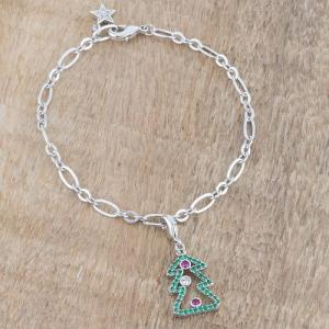Rhodium Holiday Charm Bracelet