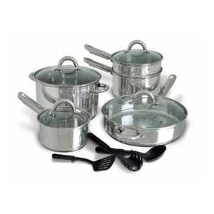 12-Piece Stainless Steel Cookware-Set with free home shipping.