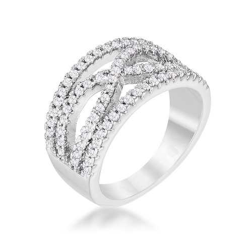 Classic-Twist Wide CZ Ring
