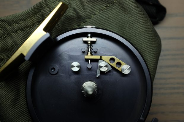 Photo of the click / pawl mechanism on the Douglas Argus fly fishing reel