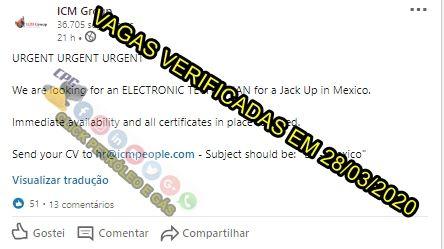 ICM Group convoca brasileiros para vagas de emprego offshore em plataforma Jack Up no México