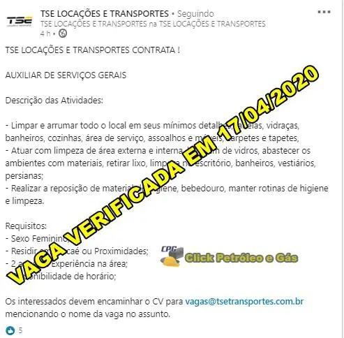 Empresa de Lógistica e Transporte em Macaé inicia processo seletivo para Auxiliar de Serviços Gerais, hoje 17 de abril