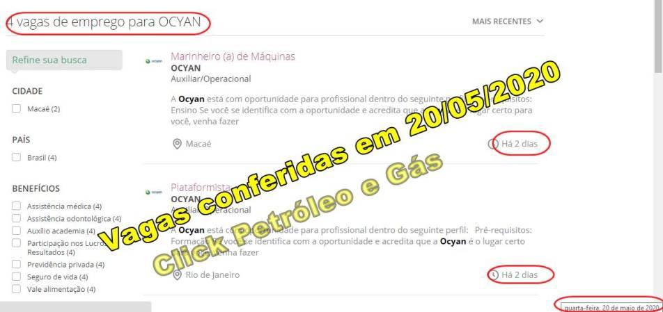 Contratos offshore em Macaé e Rio de Janeiro da Ocyan, demanda vagas de emprego neste dia, 20 de maio