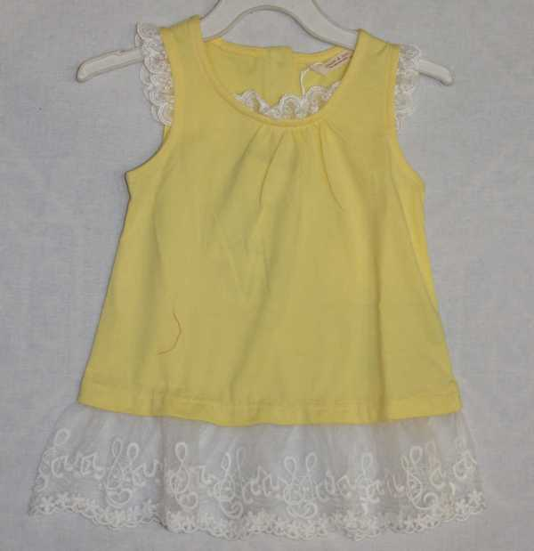 off sleeve yellow color frok for baby girl - online shop in Pakistan