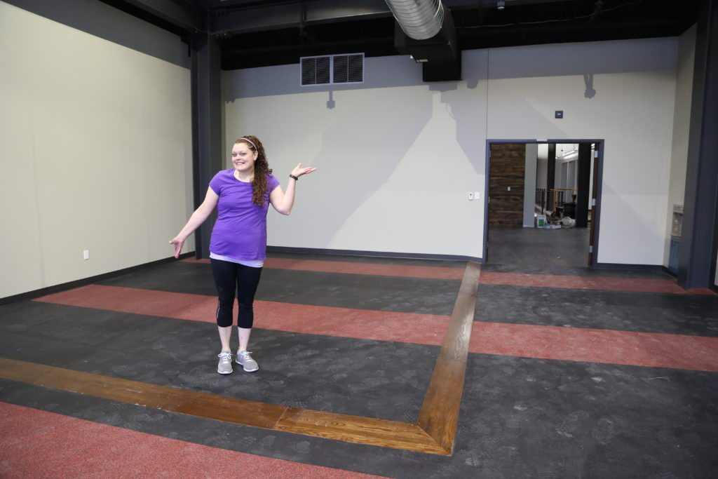 Amber in the new gym, slated to open in the next month or so! This new space will help her achieve her goals.