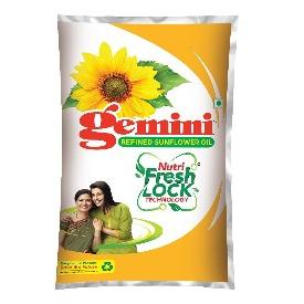 Gemini Sunflower Oil - With Nutri Fresh Technology, 1L Pouch