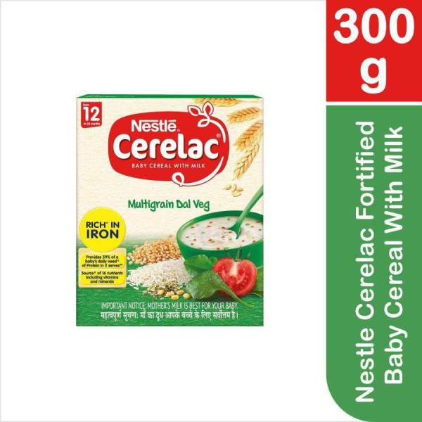 Nestle Cerelac Fortified Baby Cereal With Milk, Multigrain Dal Veg - From 12 Months, 300 g - ClickUrKart