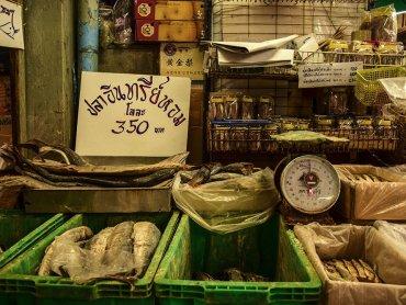 Bangkok banchetto del pesce essiccati