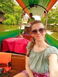 Bangkok tour sui canali di Thonburi: io e il barcaiolo