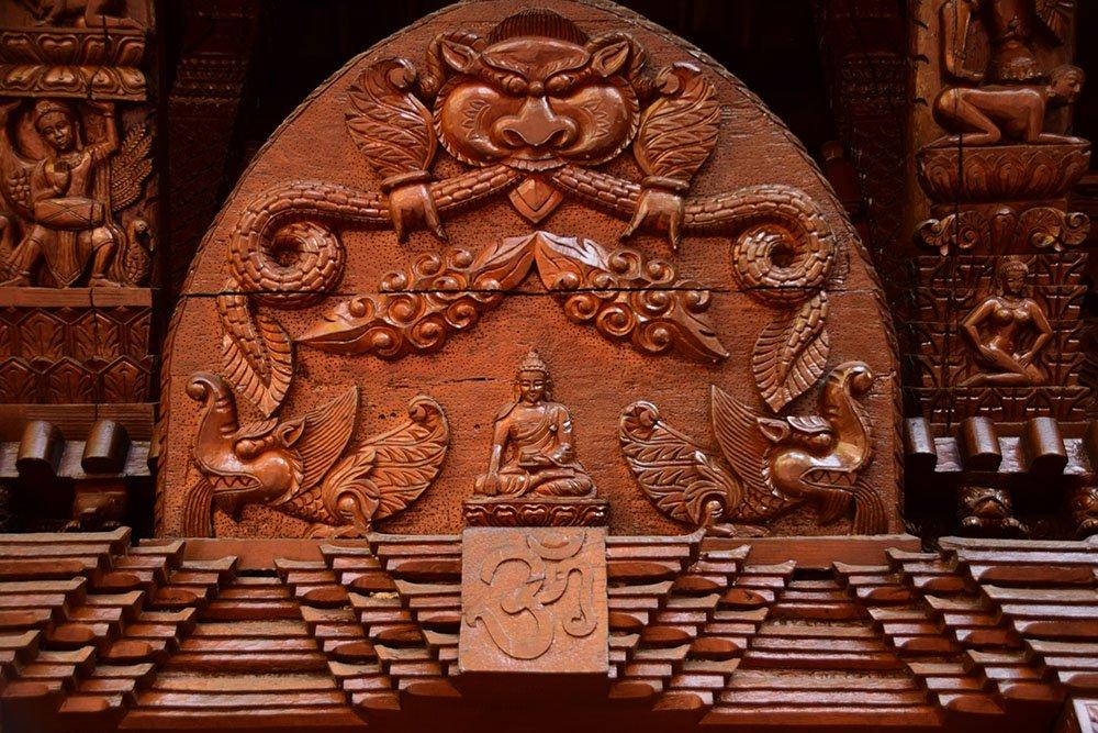 Pagoda Nepalese Brisbane Particolare delle decorazioni dell'architettura
