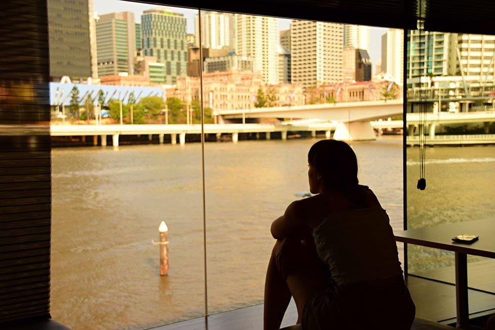 La vista spettacolare sul fiume Brisbane alla State Library