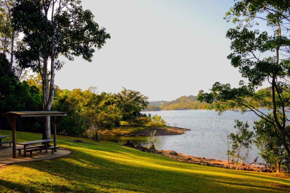 Il parco verde attorno a Lake Baroon