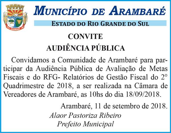 Arambaré convida para Audiência Pública de Avaliação das Metas Fiscais e do RGF