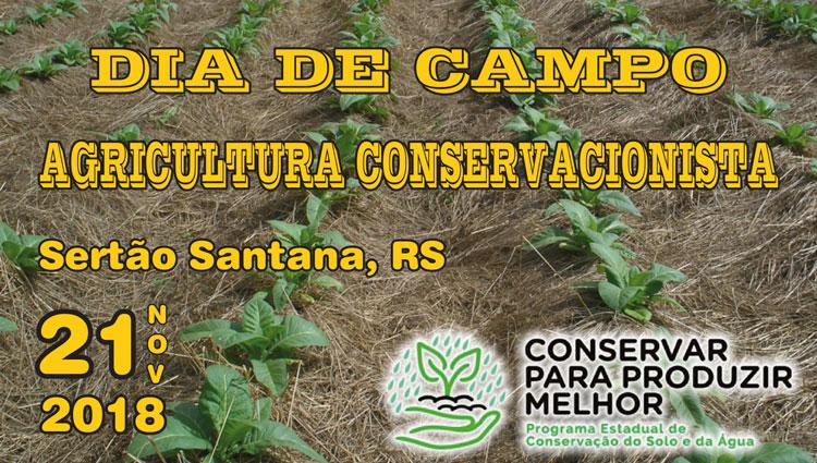 Dia de Campo de Agricultura Conservacionista ocorrerá em Sertão Santana