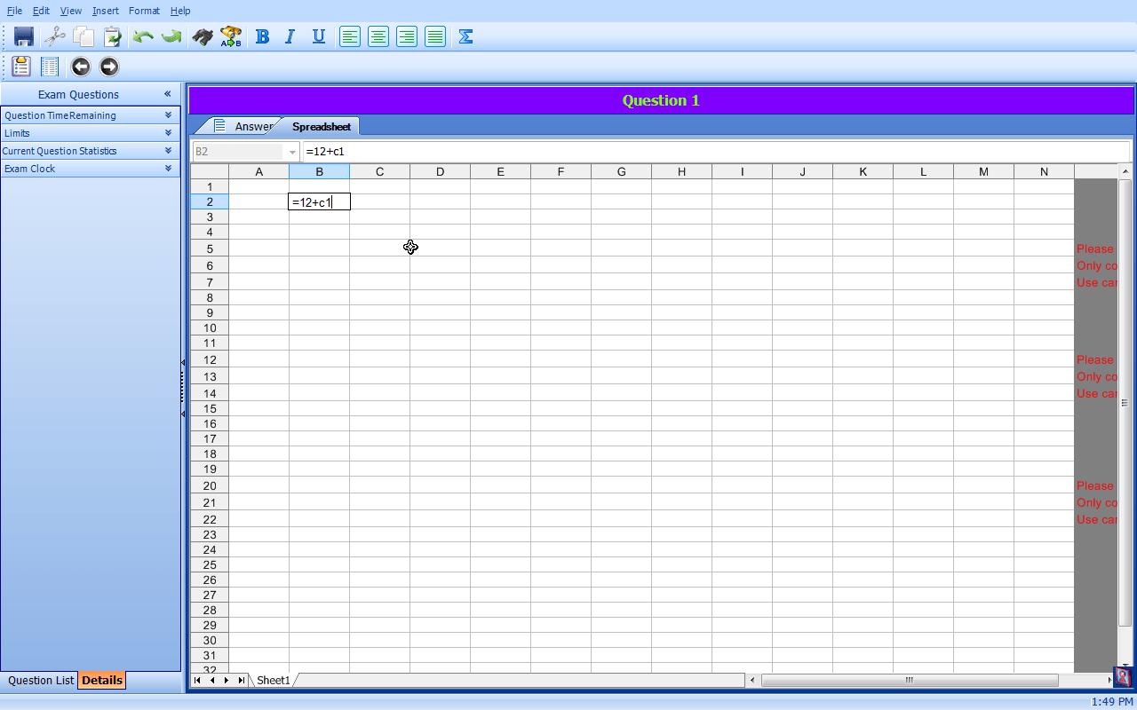 Spreadsheet Tab