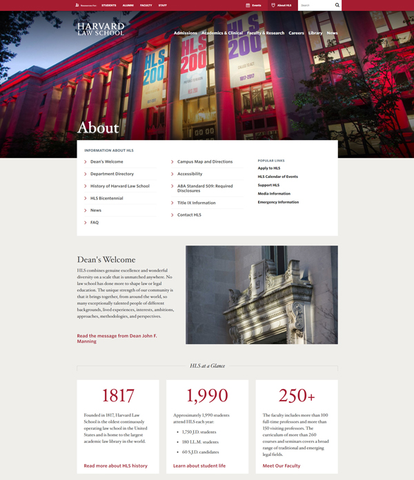 Harvard Law School website - About Us page