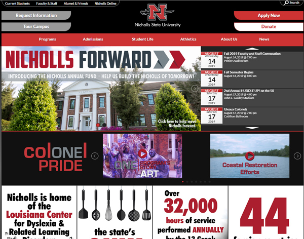 Nicholls State University website - powered by WordPress!