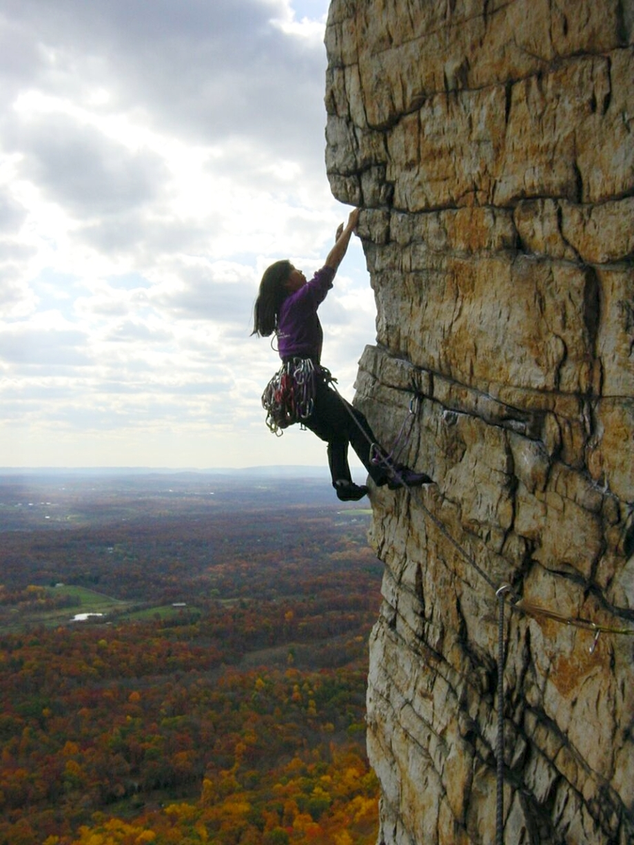 Cliffmama climbing at the Gunks