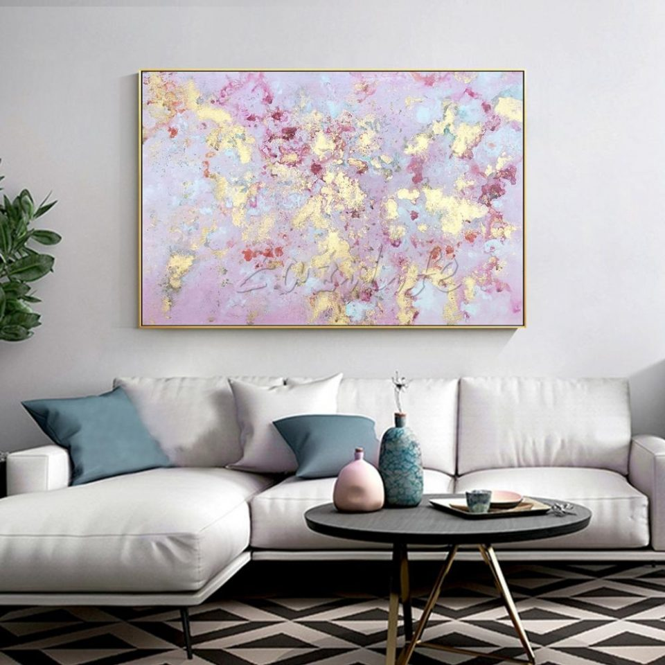 abstract pink gold acrylic wall painting