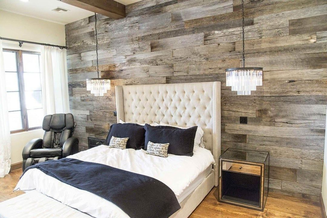 barn grey wood wall master bedroom