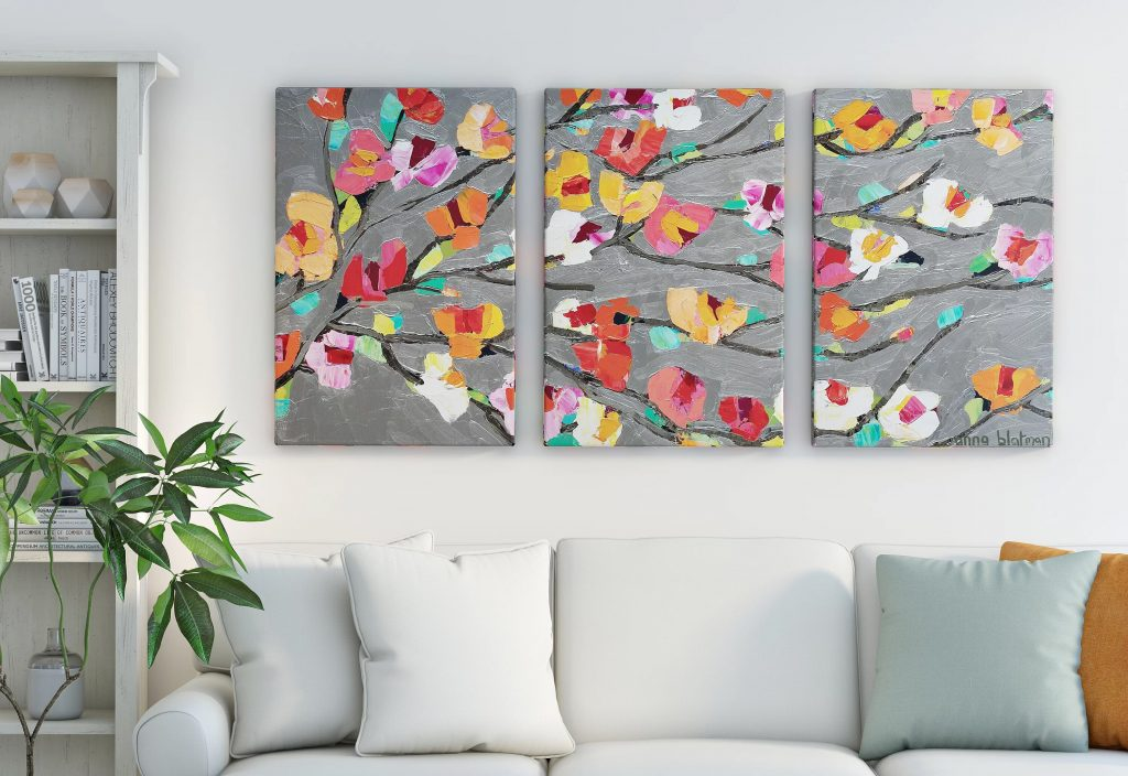 living room wall decor flower
