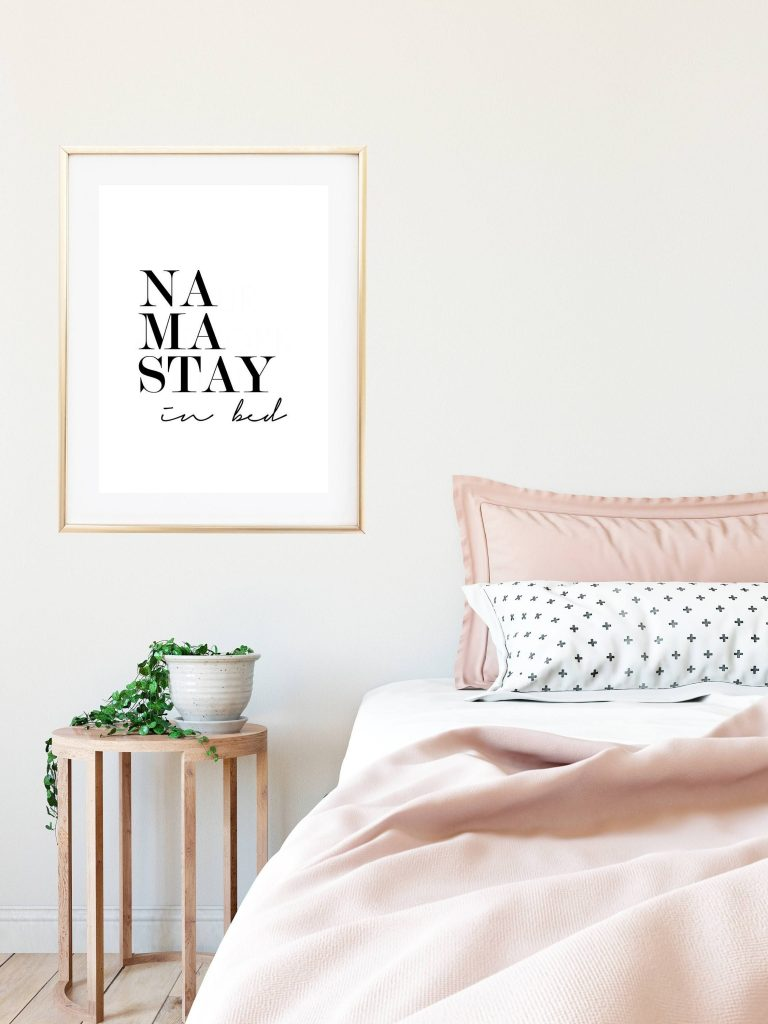 namastay bedroom wall decor above bed