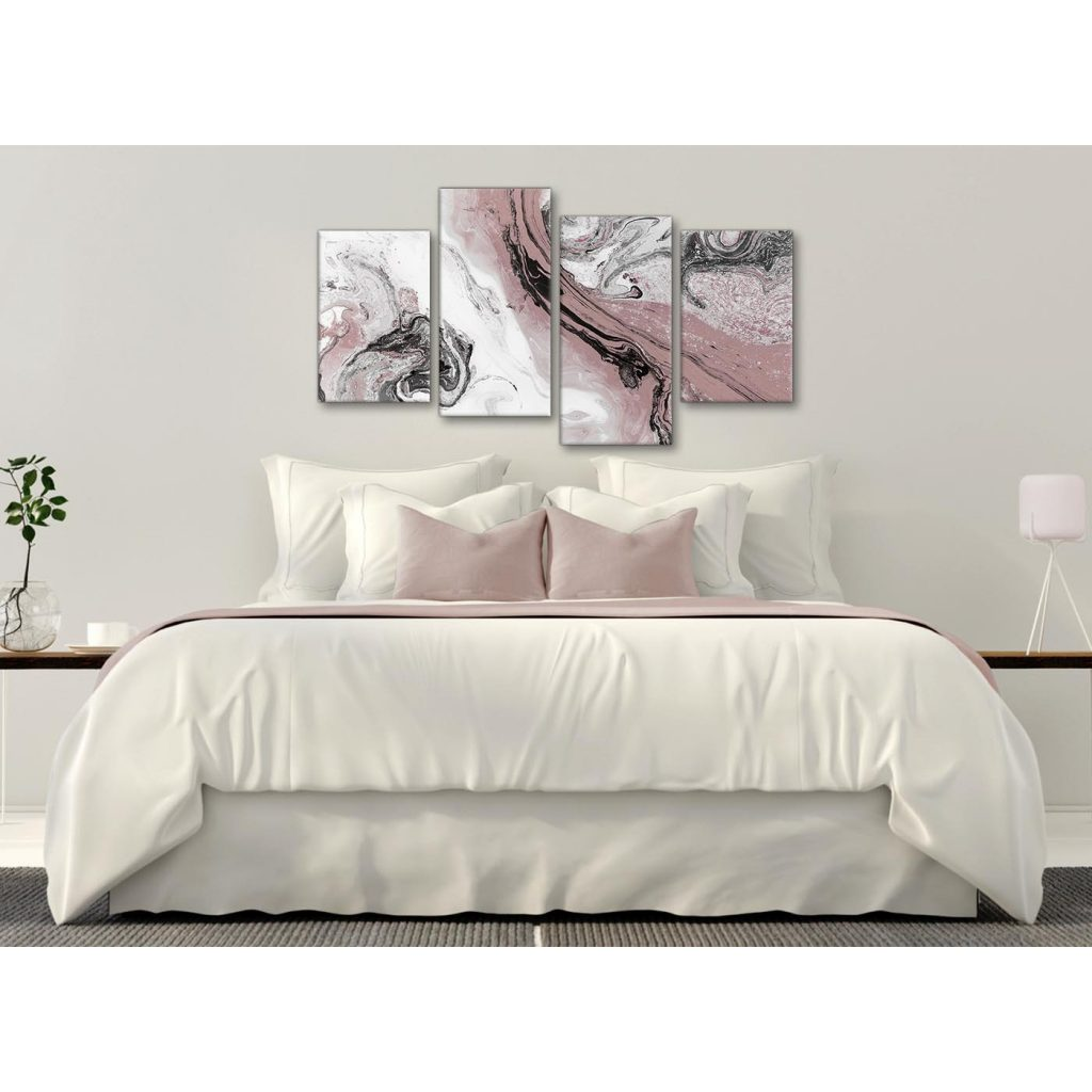 pink grey abstract bedroom canvas wall art decor