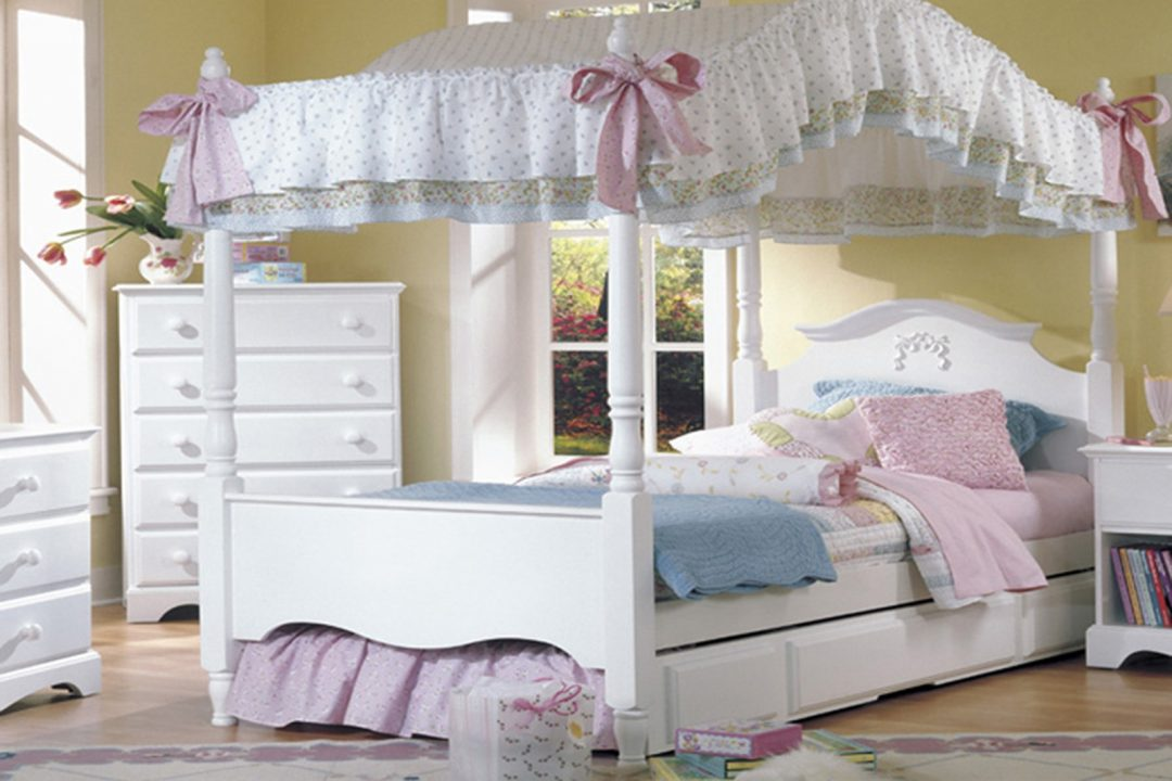 princess canopy bedroom set in white