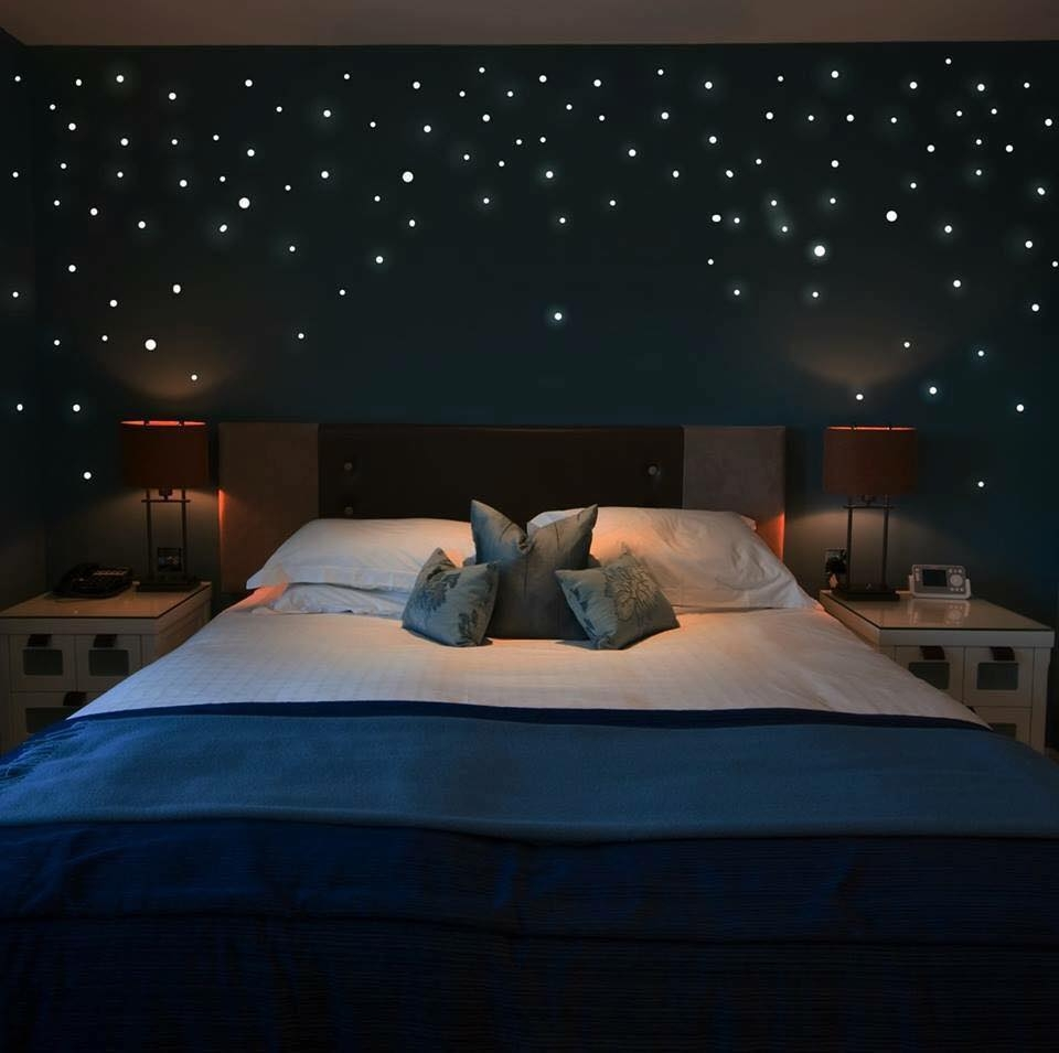 sky full of stars as lighting and curtains